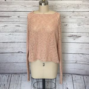 Billabong Peach Cropped Long Sleeve Sweater Large